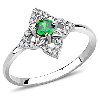 DA168 - High polished (no plating) Stainless Steel Ring with AAA Grade CZ  in Emerald