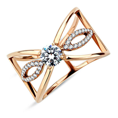 DA169 - IP Rose Gold(Ion Plating) Stainless Steel Ring with AAA Grade CZ  in Clear