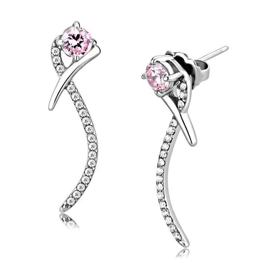 DA188 - High polished (no plating) Stainless Steel Earrings with AAA Grade CZ  in Rose
