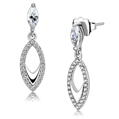 DA189 - High polished (no plating) Stainless Steel Earrings with AAA Grade CZ  in Clear