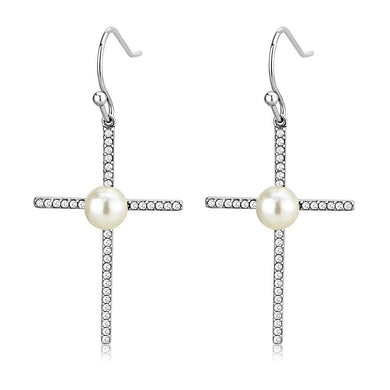 DA192 - High polished (no plating) Stainless Steel Earrings with Synthetic Pearl in White
