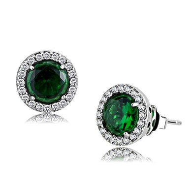 DA211 - High polished (no plating) Stainless Steel Earrings with Synthetic Synthetic Glass in Emerald