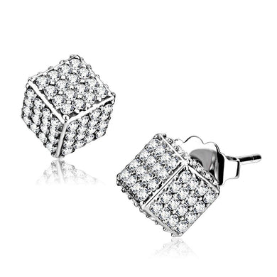 DA213 - High polished (no plating) Stainless Steel Earrings with AAA Grade CZ  in Clear