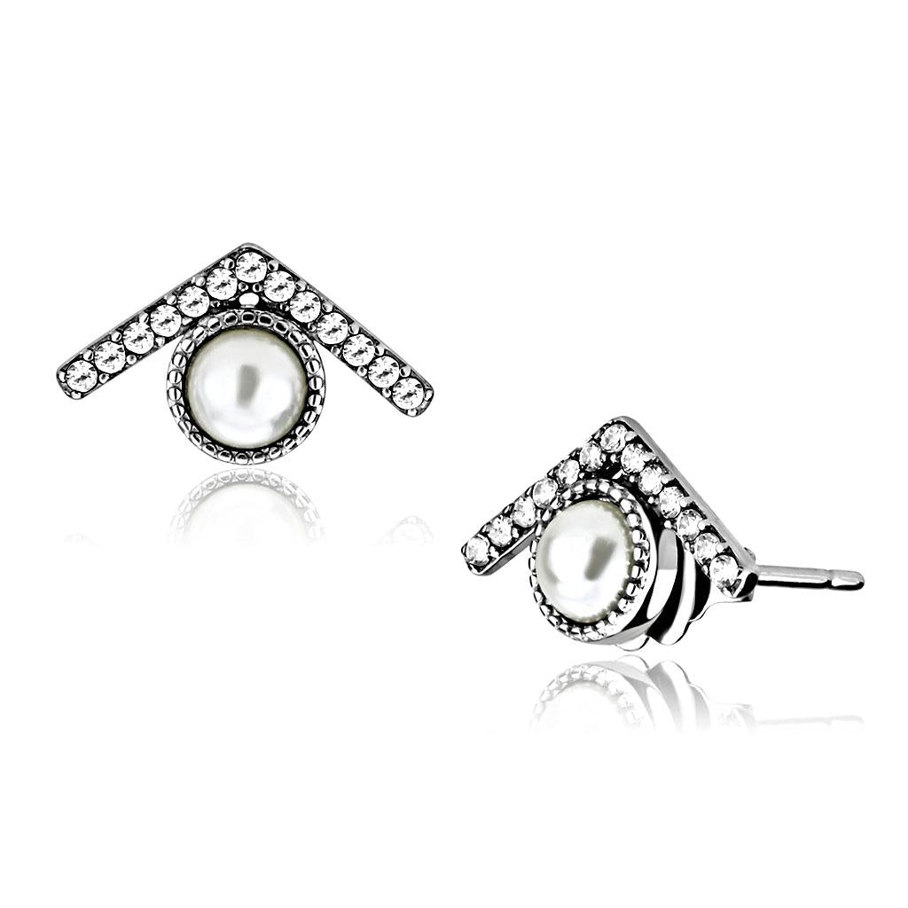DA216 - High polished (no plating) Stainless Steel Earrings with Synthetic Pearl in White