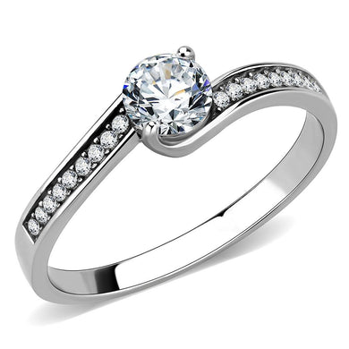 DA233 - High polished (no plating) Stainless Steel Ring with AAA Grade CZ  in Clear