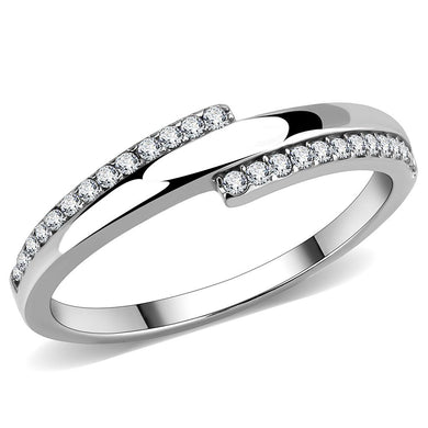 DA234 - High polished (no plating) Stainless Steel Ring with AAA Grade CZ  in Clear