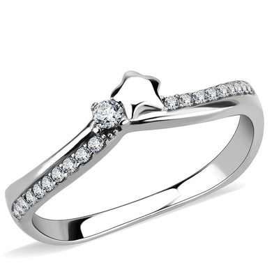 DA236 - High polished (no plating) Stainless Steel Ring with AAA Grade CZ  in Clear