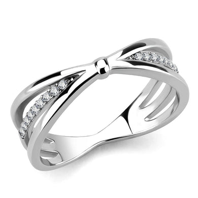 DA239 - High polished (no plating) Stainless Steel Ring with AAA Grade CZ  in Clear