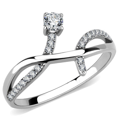 DA240 - High polished (no plating) Stainless Steel Ring with AAA Grade CZ  in Clear