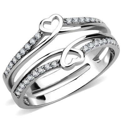 DA242 - High polished (no plating) Stainless Steel Ring with AAA Grade CZ  in Clear