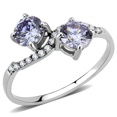 DA244 - High polished (no plating) Stainless Steel Ring with AAA Grade CZ  in Light Amethyst