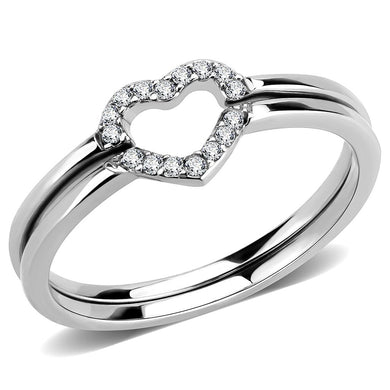 DA245 - High polished (no plating) Stainless Steel Ring with AAA Grade CZ  in Clear