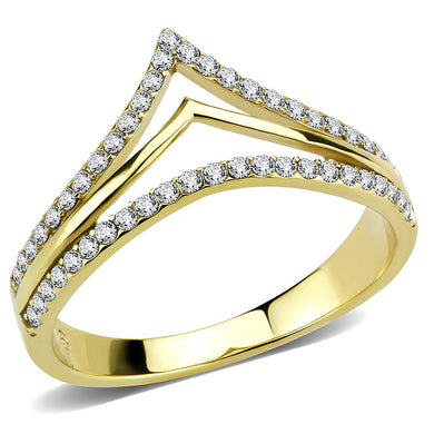 DA250 - IP Gold(Ion Plating) Stainless Steel Ring with AAA Grade CZ  in Clear