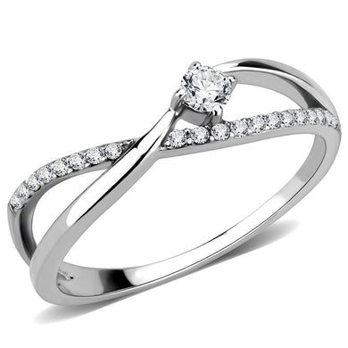 DA261 - High polished (no plating) Stainless Steel Ring with AAA Grade CZ  in Clear