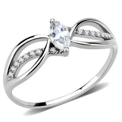 DA262 - High polished (no plating) Stainless Steel Ring with AAA Grade CZ  in Clear