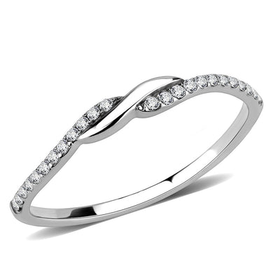 DA263 - High polished (no plating) Stainless Steel Ring with AAA Grade CZ  in Clear