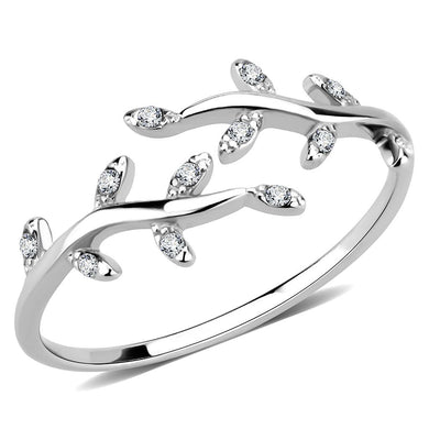 DA266 - High polished (no plating) Stainless Steel Ring with AAA Grade CZ  in Clear