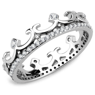 DA267 - High polished (no plating) Stainless Steel Ring with AAA Grade CZ  in Clear