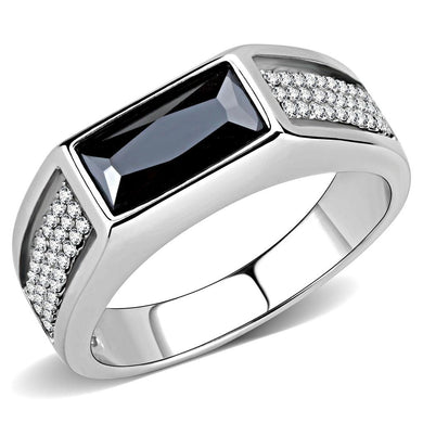 DA284 - High polished (no plating) Stainless Steel Ring with AAA Grade CZ  in Black Diamond