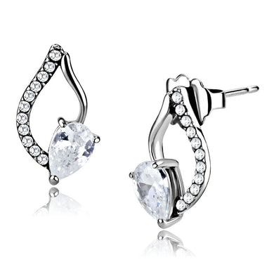 DA290 - High polished (no plating) Stainless Steel Earrings with AAA Grade CZ  in Clear