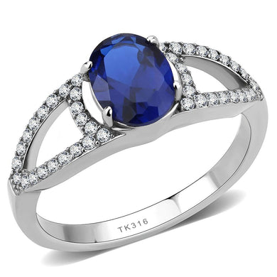 DA306 - No Plating Stainless Steel Ring with Synthetic Spinel in London Blue