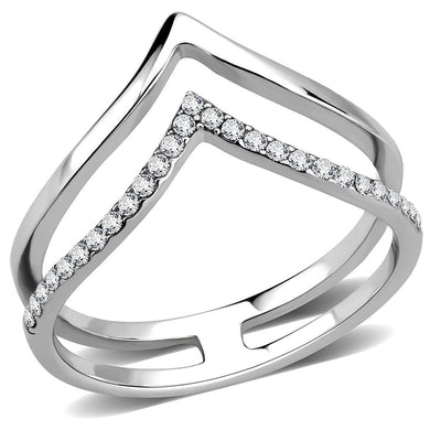 DA308 - No Plating Stainless Steel Ring with AAA Grade CZ  in Clear