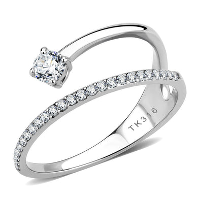 DA316 - No Plating Stainless Steel Ring with AAA Grade CZ  in Clear