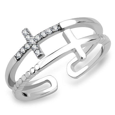 DA319 - No Plating Stainless Steel Ring with AAA Grade CZ  in Clear