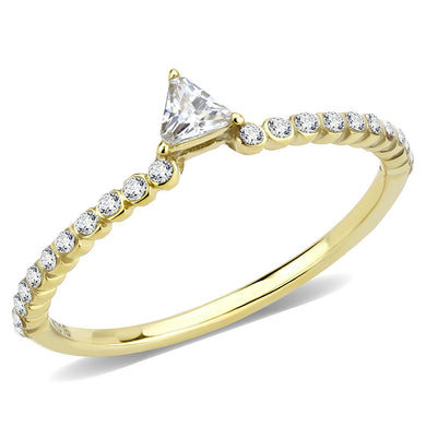 DA323 - IP Gold(Ion Plating) Stainless Steel Ring with AAA Grade CZ  in Clear