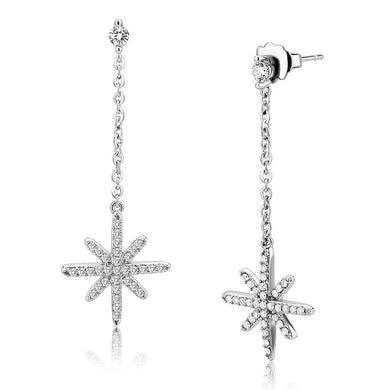 DA329 - No Plating Stainless Steel Earrings with AAA Grade CZ  in Clear