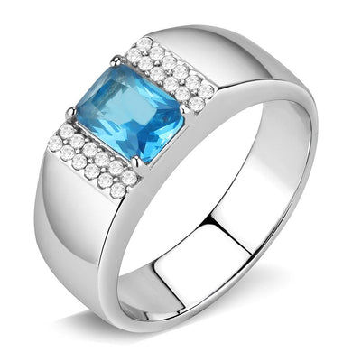 DA344 - No Plating Stainless Steel Ring with Synthetic Synthetic Glass in Sea Blue