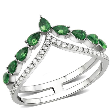 DA347 - High polished (no plating) Stainless Steel Ring with Synthetic Synthetic Glass in Emerald