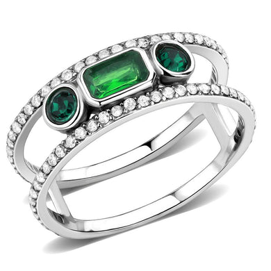 DA348 - High polished (no plating) Stainless Steel Ring with Synthetic Synthetic Glass in Emerald