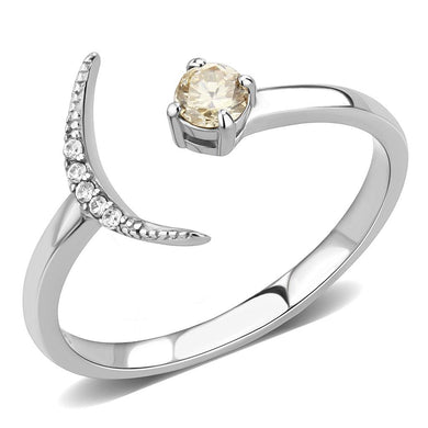 DA358 - High polished (no plating) Stainless Steel Ring with AAA Grade CZ  in Champagne