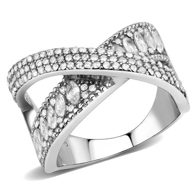 DA361 - High polished (no plating) Stainless Steel Ring with AAA Grade CZ  in Clear