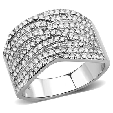 DA362 - High polished (no plating) Stainless Steel Ring with AAA Grade CZ  in Clear