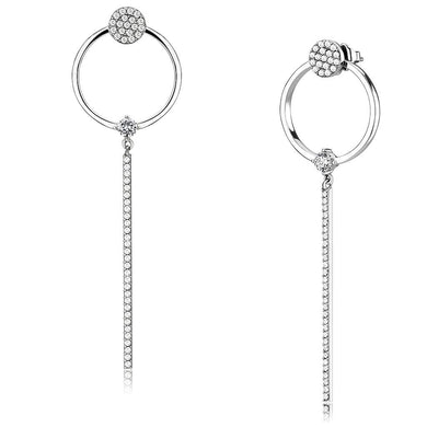 DA371 - High polished (no plating) Stainless Steel Earrings with AAA Grade CZ  in Clear