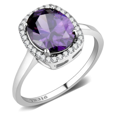 DA385 - High polished (no plating) Stainless Steel Ring with AAA Grade CZ  in Amethyst