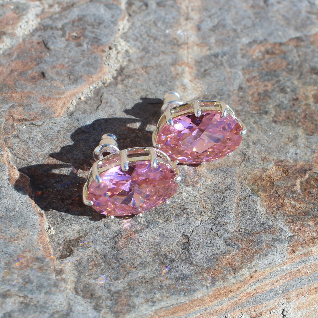 LOAS1369 - Sterling Silver Earrings with AAA Grade CZ in Pink