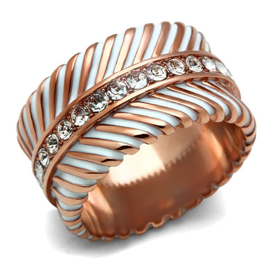 GL202 - IP Rose Gold(Ion Plating) Brass Ring with Top Grade Crystal  in Clear