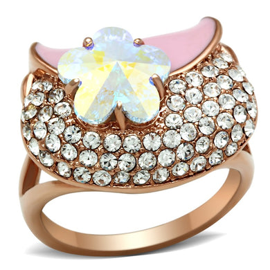 GL220 - IP Rose Gold(Ion Plating) Brass Ring with Top Grade Crystal  in Clear