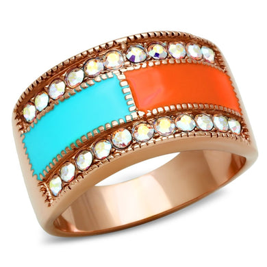 GL221 - IP Rose Gold(Ion Plating) Brass Ring with Top Grade Crystal  in Clear