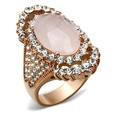 GL225 - IP Rose Gold(Ion Plating) Brass Ring with Precious Stone PINK CRYSTAL in Light Rose