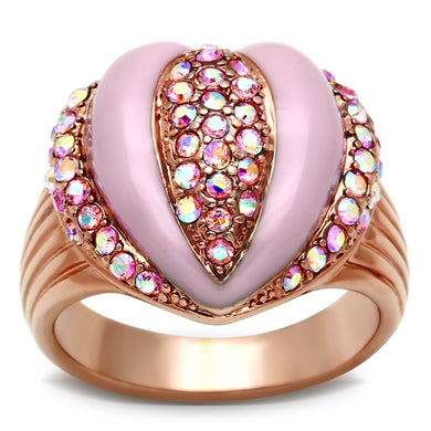 GL227 - IP Rose Gold(Ion Plating) Brass Ring with Top Grade Crystal  in Light Rose