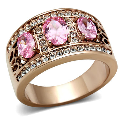 GL244 - IP Rose Gold(Ion Plating) Brass Ring with AAA Grade CZ  in Rose