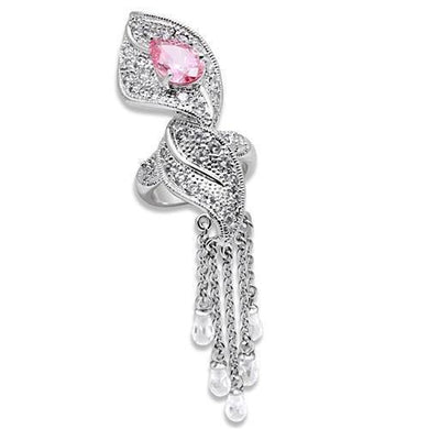 LO1010 - Rhodium Brass Ring with AAA Grade CZ  in Rose