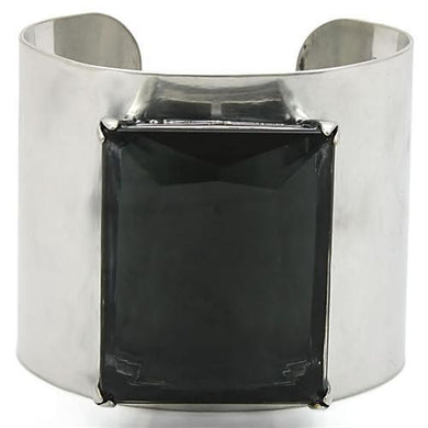 LO1145 - Antique Silver Brass Bangle with Synthetic Synthetic Glass in Black Diamond