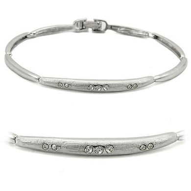 LO1156 - Rhodium+Brushed Brass Bracelet with Top Grade Crystal  in Clear