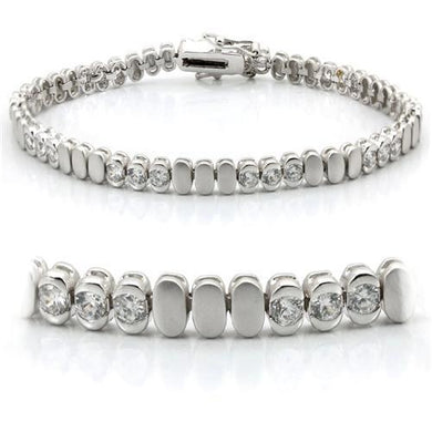 LO1159 - Matte Rhodium & Rhodium Brass Bracelet with AAA Grade CZ  in Clear