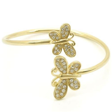 LO1177 - Gold Brass Bangle with Top Grade Crystal  in Clear